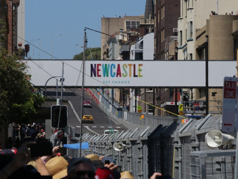 Watts St from turn 1 to turn 2 @ Newcastle 500.